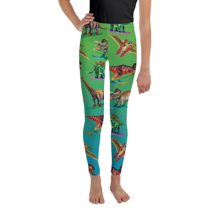 Youth Dinosaur Ski Day Leggings - Blue & Green