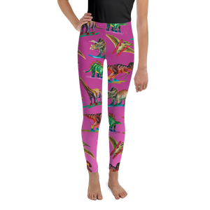 Youth Dinosaur Ski Day Leggings - Pink