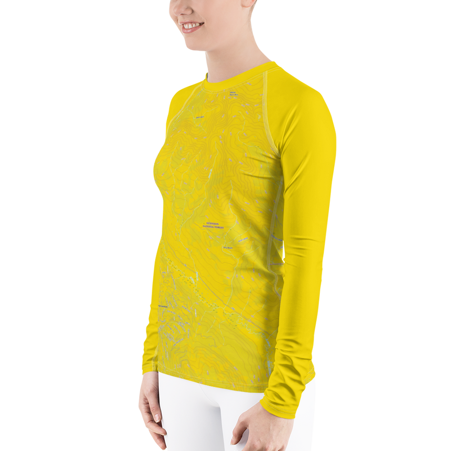 Mt. Crested Butte Topo Map - Long Sleeve Base Layer Shirt - Women's