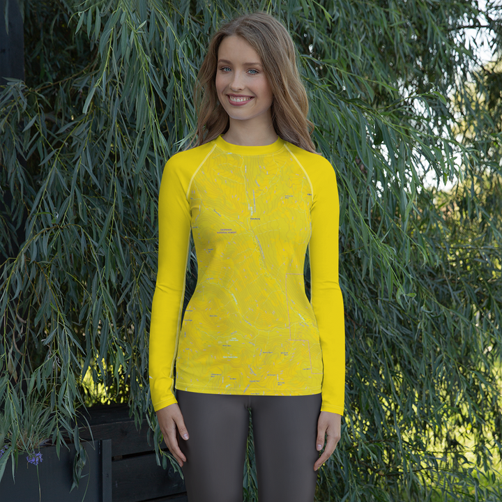 Oh Be Joyful Topo Map - Long Sleeve Base Layer Shirt - Women's