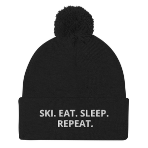 Ski. Eat. Sleep Repeat. Pom-Pom Beanie - Unisex