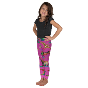 Kid's Dinosaur Ski Day Leggings - Pink