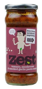 Zest Tomato, Mushroom & Smoked Garlic Sauce Suitable for Vegans & Vegetarians 340g (dairy free, gluten free)