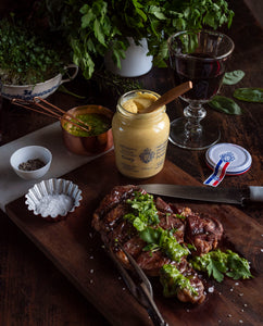 Steak with Grey Poupon Dijon Mustard