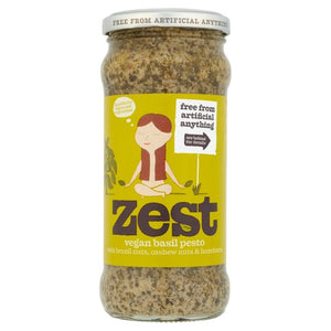 Zest Basil Pesto  Suitable for Vegans & Vegetarians 340g (dairy free, gluten free)