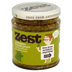Zest Coriander & Basil Pesto  Suitable for Vegans & Vegetarians 165g (dairy free, gluten free)