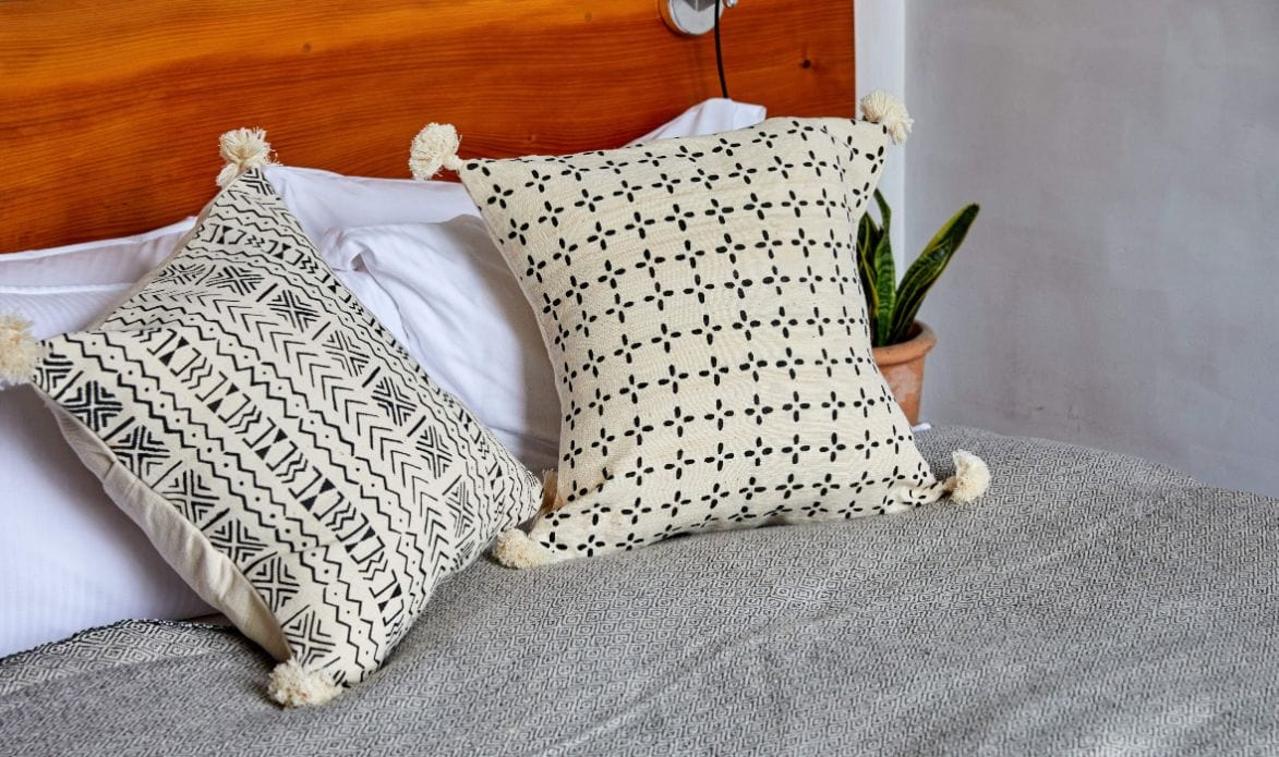navy mudcloth pillow
