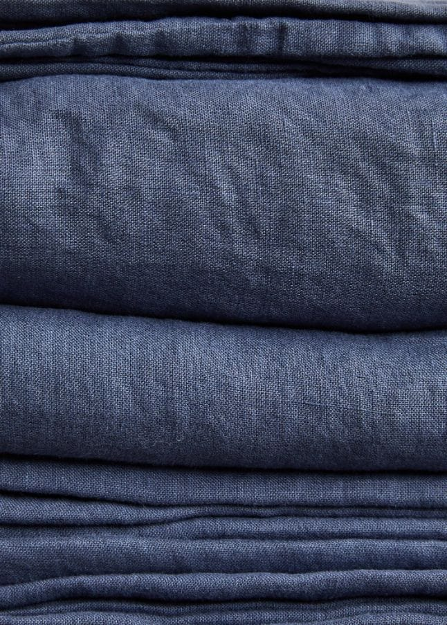 Stonewashed Linen Flat Sheet - Navy Blue