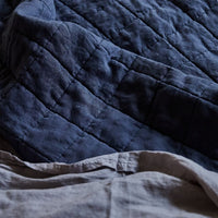Stonewashed Linen Quilt  - Navy Blue
