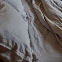 Stonewashed Linen Fitted Sheet - Light Grey