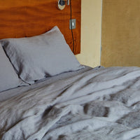 Stonewashed Linen Duvet Cover - Light Grey