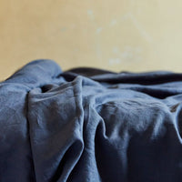 Stonewashed Linen Pillowcase - Navy Blue