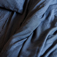 Stonewashed Linen Fitted Sheet - Navy Blue