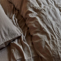 Stonewashed Linen Fitted Sheet - Sand