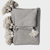 luxury pom pom throw blanket