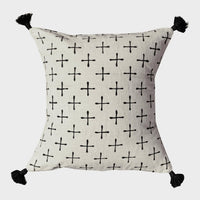 Throw Pillow Boho 18x18 Black & White