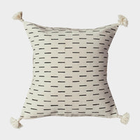 Mudcloth Bohemian Throw Pillow Cover - 18x18 White & Black