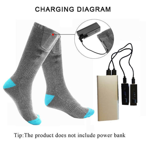 3 Heat Settings Comfy Heated Socks Rechargeable Li-ion Battery / Gray / 2019 Model - homeoftrendz