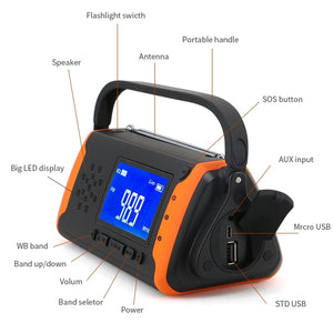 SOSPower - Emergency Solar Hand Crank Portable Radio with NOAA Weather Radio - homeoftrendz
