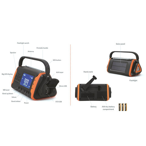 Image of SOSPower - Emergency Solar Hand Crank Portable Radio with NOAA Weather Radio - homeoftrendz