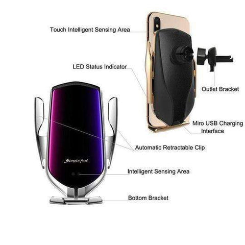 Image of Wireless Automatic Sensor Car Phone Holder And Charger - Homeoftrendz