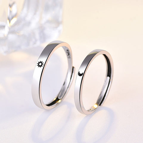 1PC Minimalist Alloy Sun Moon Open Ring For Women Men Lovers Unique Adjustable Carving Crescent Engagement Wedding Ring Jewelry