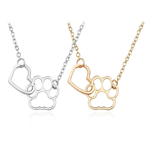 Fashion New Simple Love Hollow Animal Dog Claw Paw Imprint Girl Metal Necklace Two-Color Optional Jewelry Gift Selection