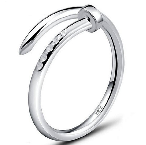 S925 Sterling Silver Temperament Nail Ring Temperament Silver Plated Open Size Adjustable Korean Fashion Jewelry for Men Women