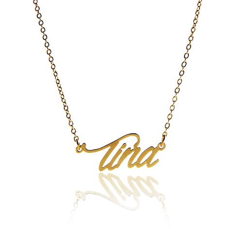 Tina Name Necklace for Women Script Personalized Pendant Gold Color Stainless Steel Popular Nameplate Letters Jewelry NL2417