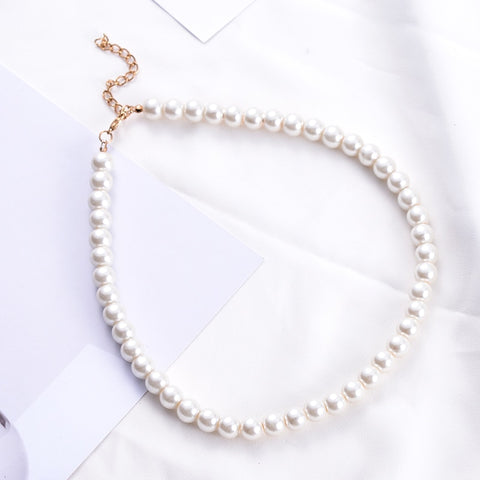 SUKI Jewelry Clavicle Chain Choker Simulated Pearls Strand Beaded Necklace for Bridal Women Torques Female White Wedding Gift