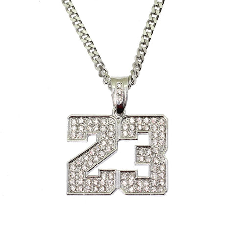 BNRESALE Hip Hop Iced Out Full Rhinestone Alloy Number 23 Jordan Pendent Necklace Bling Bling Rapper Jewelry
