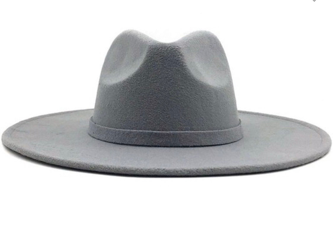 Wide brim Panama Hat-Grey