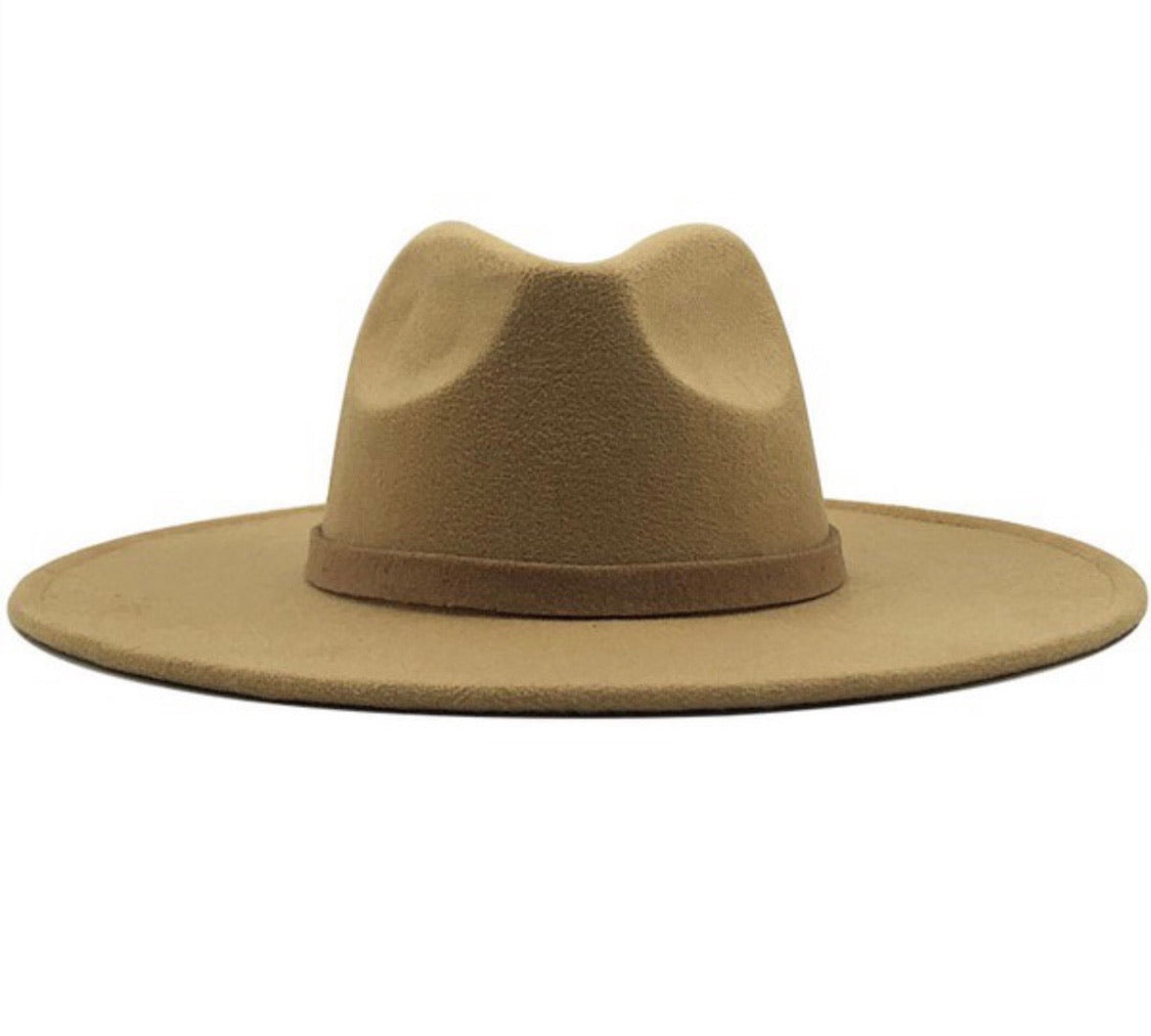 Wide brim Panama Hat-Brown