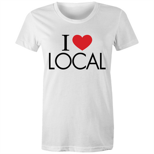 I Heart Local - Womens Fairtrade Organic Crew Tee