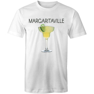 A white T-shirt with an image of a frozen margarita, with Margaritaville written across the chest.