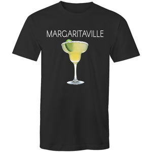 A dark grey T-shirt with an image of a frozen margarita, with Margaritaville written across the chest.