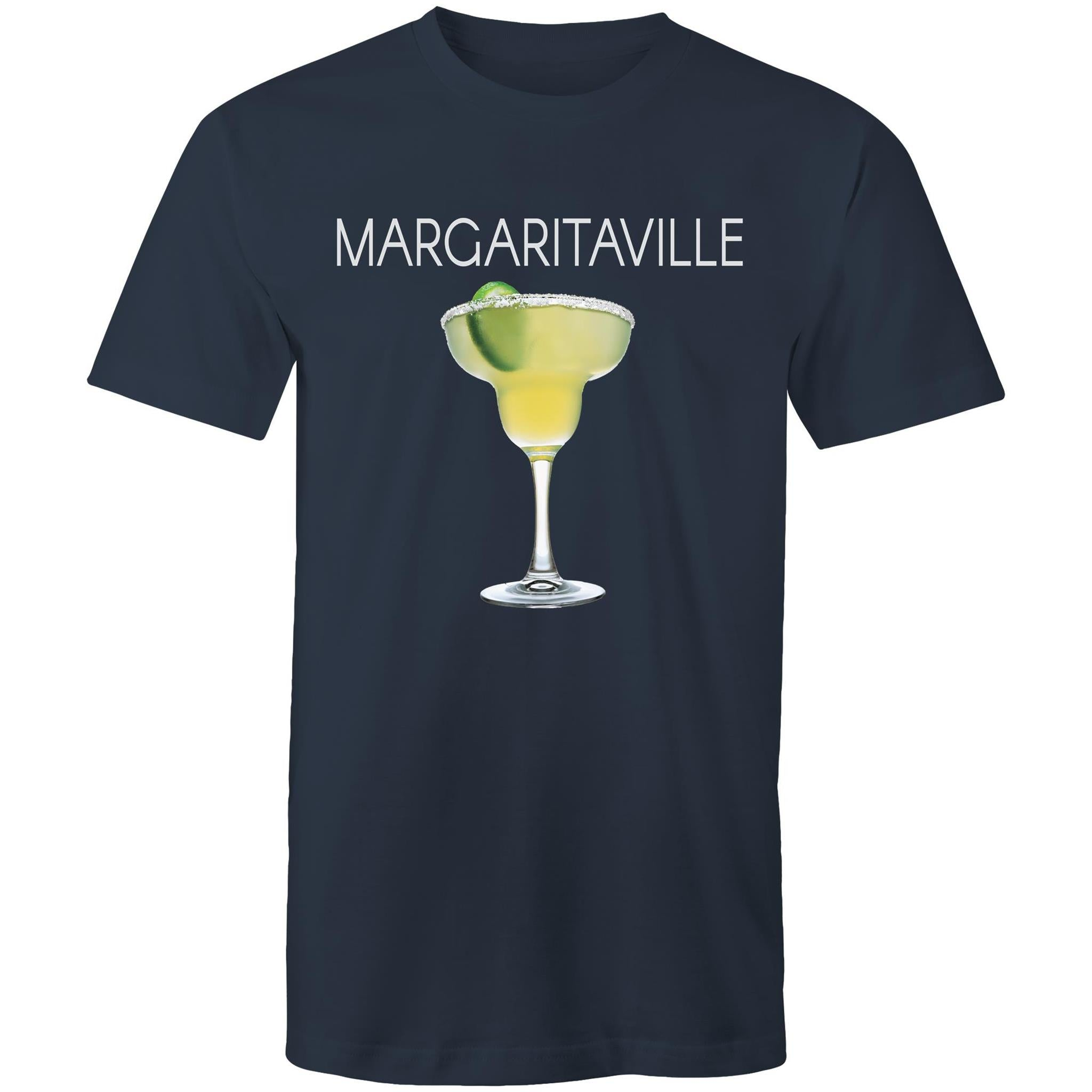 A navy blue T-shirt with an image of a frozen margarita, with Margaritaville written across the chest.