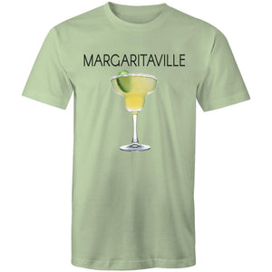 A pale green T-shirt with an image of a frozen margarita, with Margaritaville written across the chest.