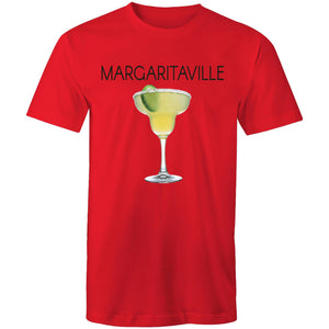 A red T-shirt with an image of a frozen margarita, with Margaritaville written across the chest.