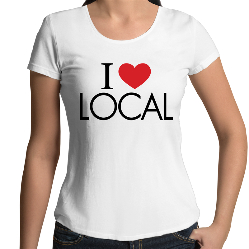 I Heart LOCAL - Womens Scoop Neck T-Shirt