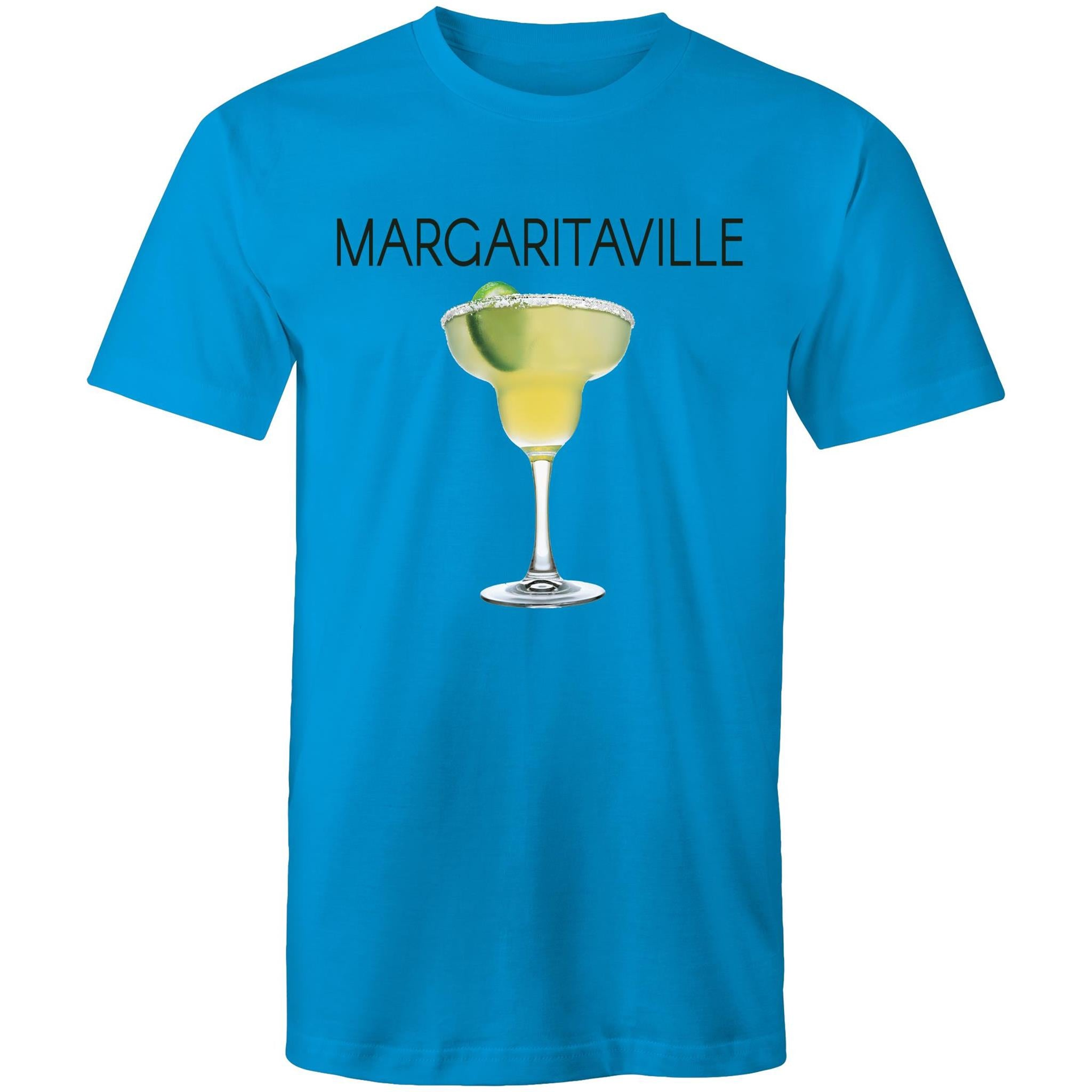 A blue T-shirt with an image of a frozen margarita, with Margaritaville written across the chest.