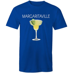 A royal blue T-shirt with an image of a frozen margarita, with Margaritaville written across the chest.