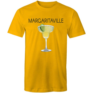 A gold T-shirt with an image of a frozen margarita, with Margaritaville written across the chest.