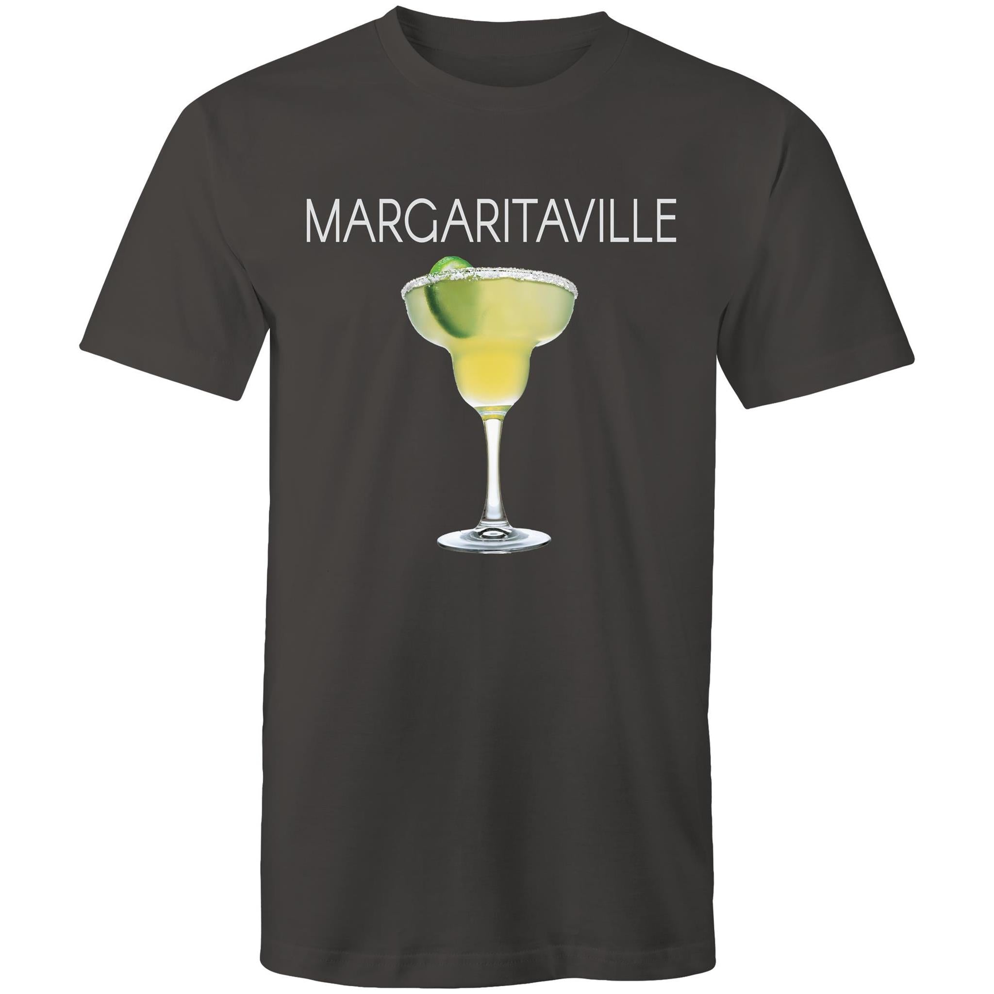 A mid grey T-shirt with an image of a frozen margarita, with Margaritaville written across the chest.