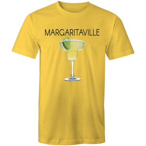 A yellow T-shirt with an image of a frozen margarita, with Margaritaville written across the chest.