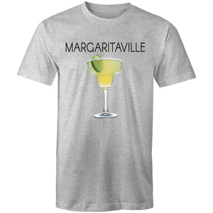 A grey marle T-shirt with an image of a frozen margarita, with Margaritaville written across the chest.