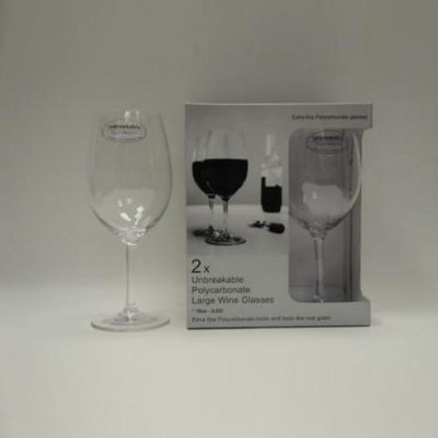 2x Unbreakable Polycarbonate Large Wine Glasses