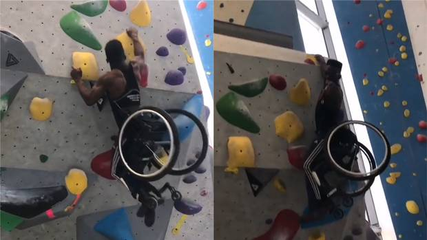 Watch as a wheelchair athlete Woody Belford easily scale a climbing wall
