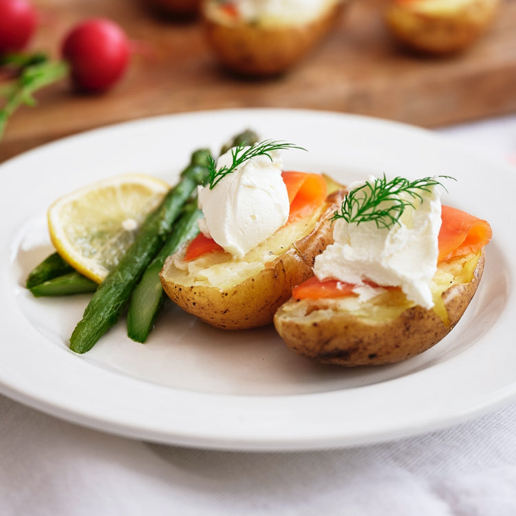 Twice-Baked Baby Potatoes with Smoked Salmon
