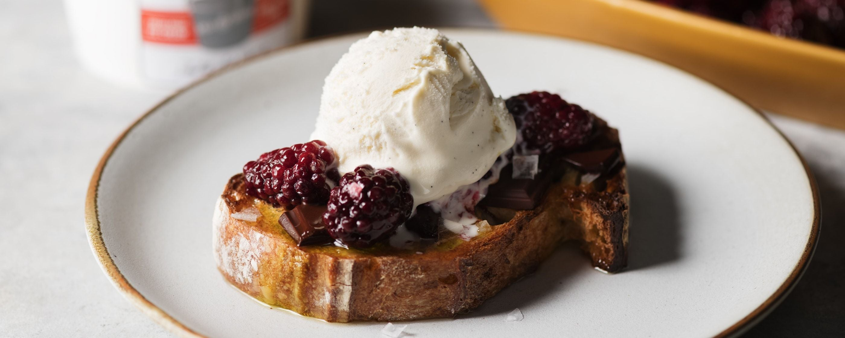 Ice Cream on Toast with<br> Roasted Berries, Chocolate, and Olive Oil